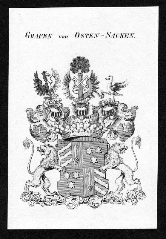 Ca.1820 Osten-Sacken Wappen Adel coat of arms Kupferstich antique print heraldry