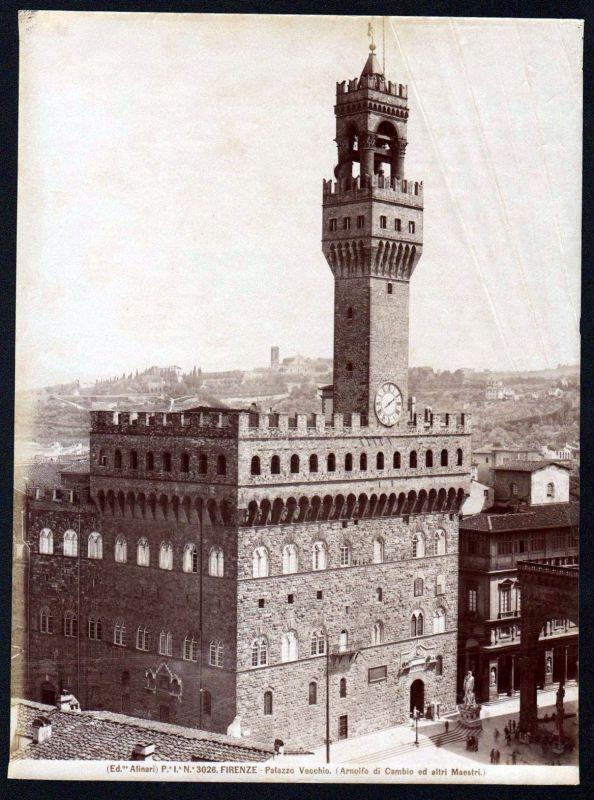 Ca. 1880 Palazzo Vecchio Firenze Alinari albumen Foto photo vintage antique