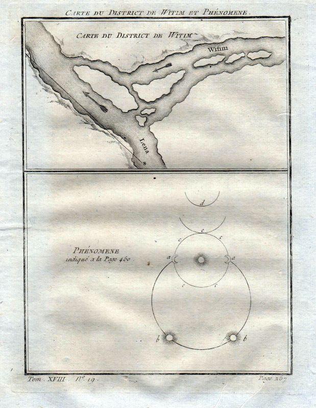 Ca. 1750 Witim Lena Russia Russland Karte map Kupferstich antique print
