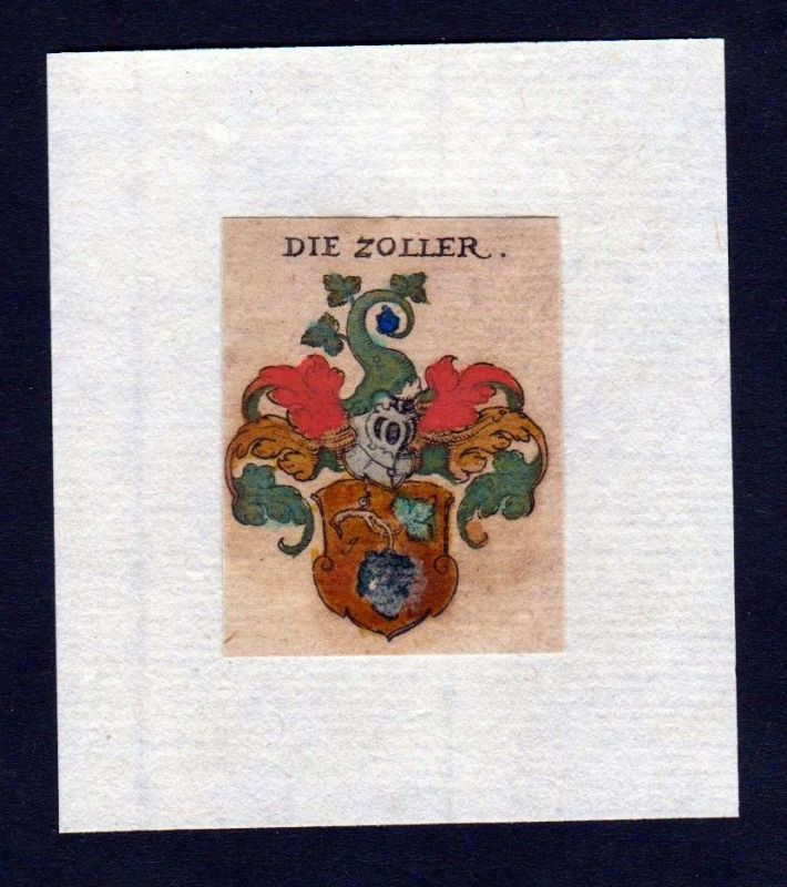 H Zoller Wappen coat of arms heraldry Heraldik Kupferstich
