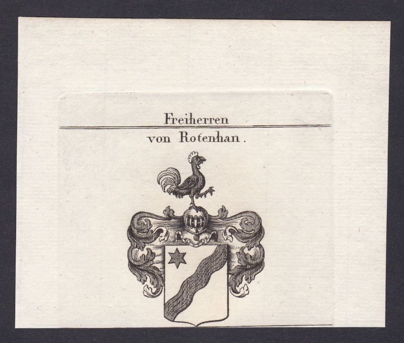 1820 Rotenhan Rottenhan Franken Wappen Adel coat of arms Heraldik Kupferstich