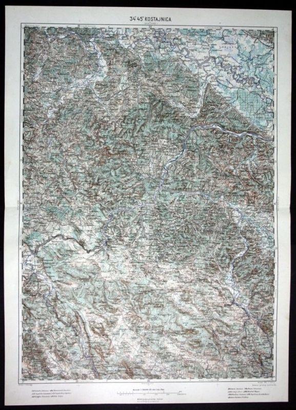 Zagreb / Kostajnica / Petrinja / Cazin - alte Landkarte 1915
