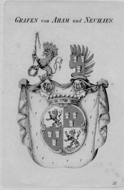 1820 - Aham Neuhaus Wappen Adel coat of arms heraldry Heraldik crest Kupferstich