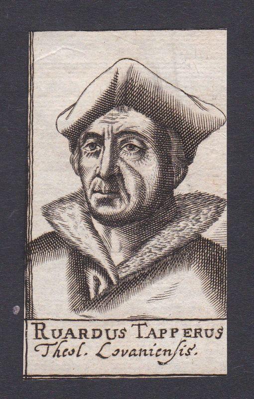 1680 Ruard Tapper / theologian Theologe Löwen Portrait Kupferstich