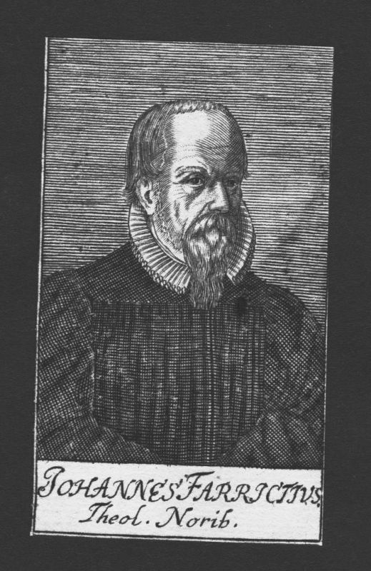 1680 - Johannes Farrictius Theologe Professor Nürnberg Kupferstich Portrait