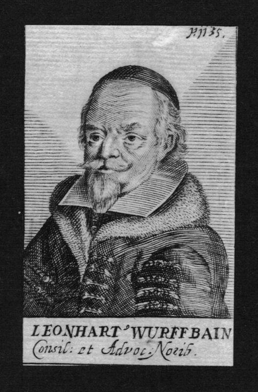 1680 - Leonhart Wurffbain Jurist lawyer Professor Nürnberg Kupferstich Portrait