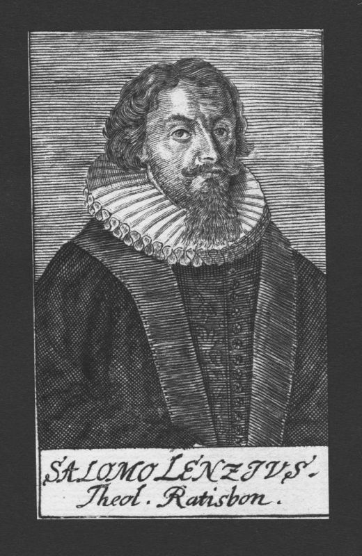 1680 - Salomon Lenz Theologe Wittenberg Jena Regensburg Kupferstich Portrait