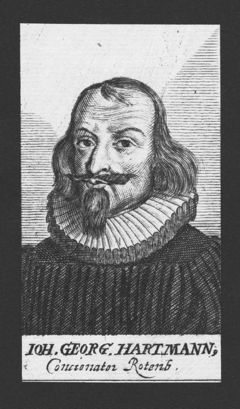 1680 - Johann Georg Hartmann Theologe Professor Rothenburg Kupferstich Portrait