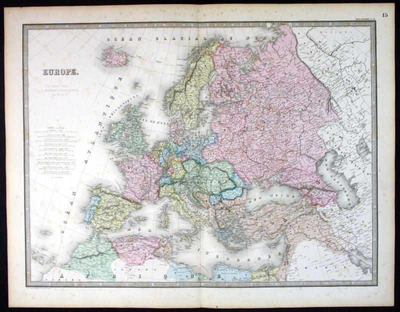 1862 Europa Europe continent Karte map Andriveau Goujon