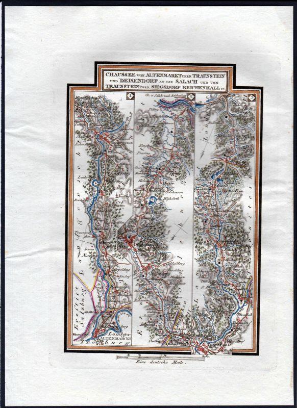 1796 Altenmarkt Alz Traunstein Teisendorf Siegsdorf Karte Kupferstich Riedl