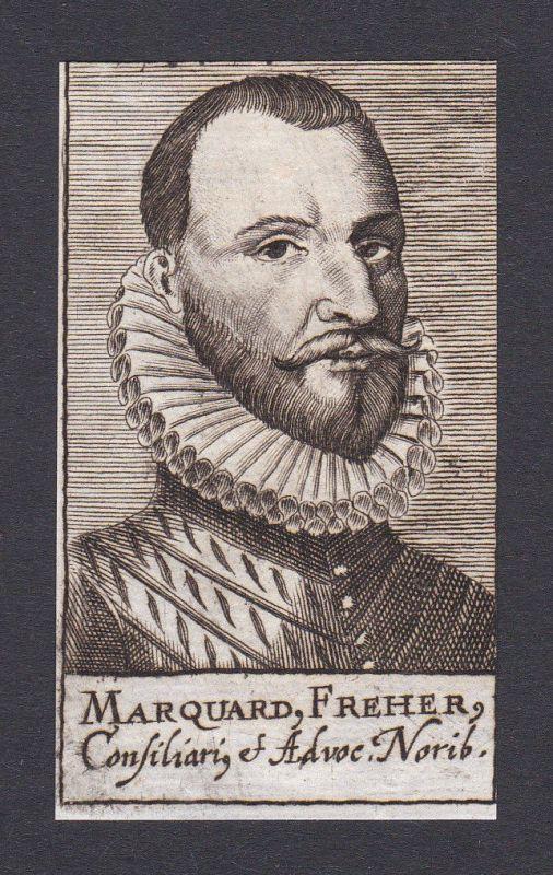 17. Jh. - Marquard Freher / jurist Historiker Nürnberg Portrait Kupferstich