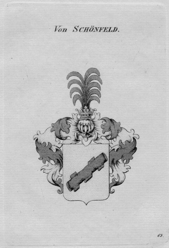 1820 - Schönfeld Wappen Adel coat of arms heraldry Heraldik crest Kupferstich