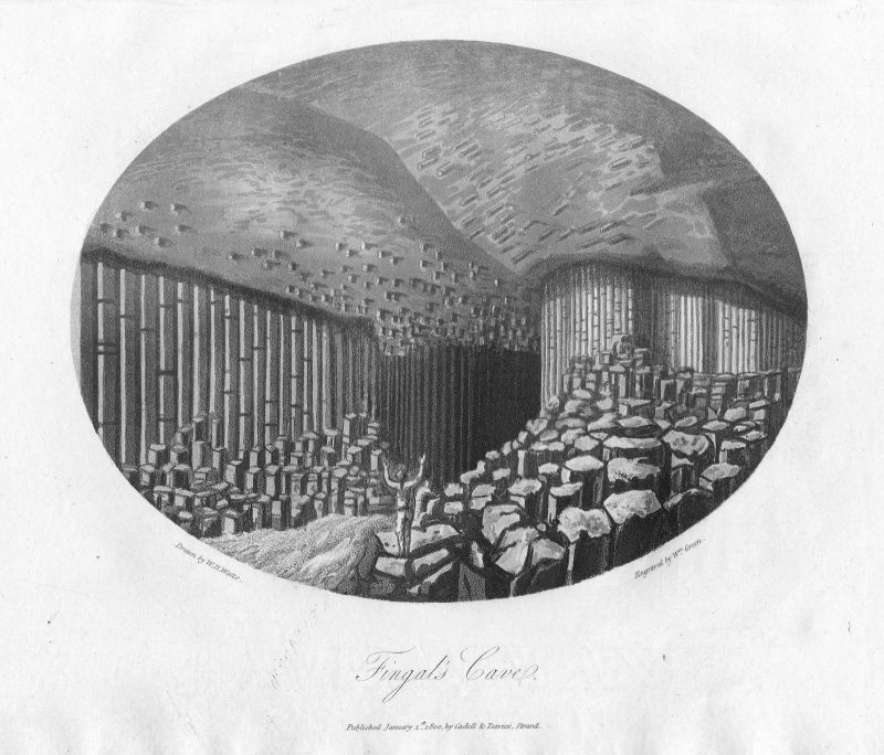 Fingal's Cave Staffa Scotland England Great Britain etching Green Watts
