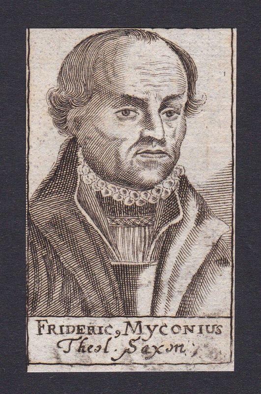 1680 Friedrich Myconius / Theologe theologian Sachsen Portrait Kupferstich