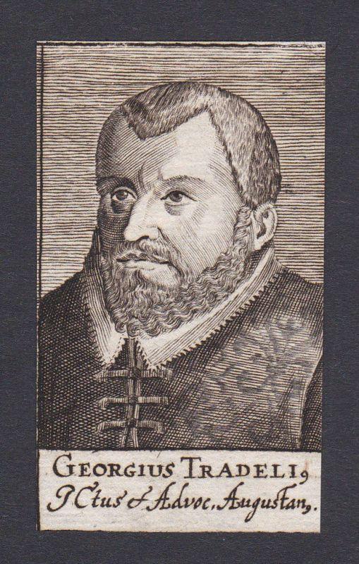 17. Jh. - Georg Tradel / lawyer Jurist Augsburg Portrait Kupferstich