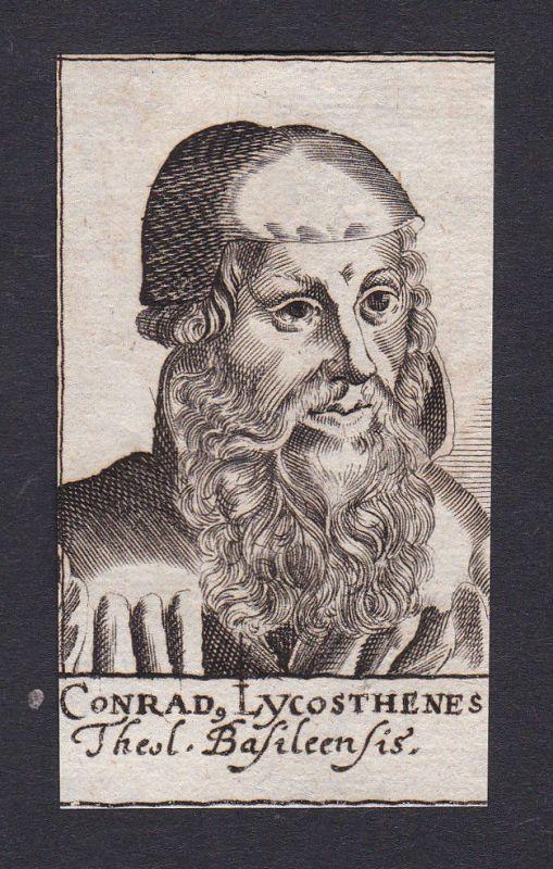 Conrad Lycosthenes / theologian Theologe Basel Portrait Kupferstich