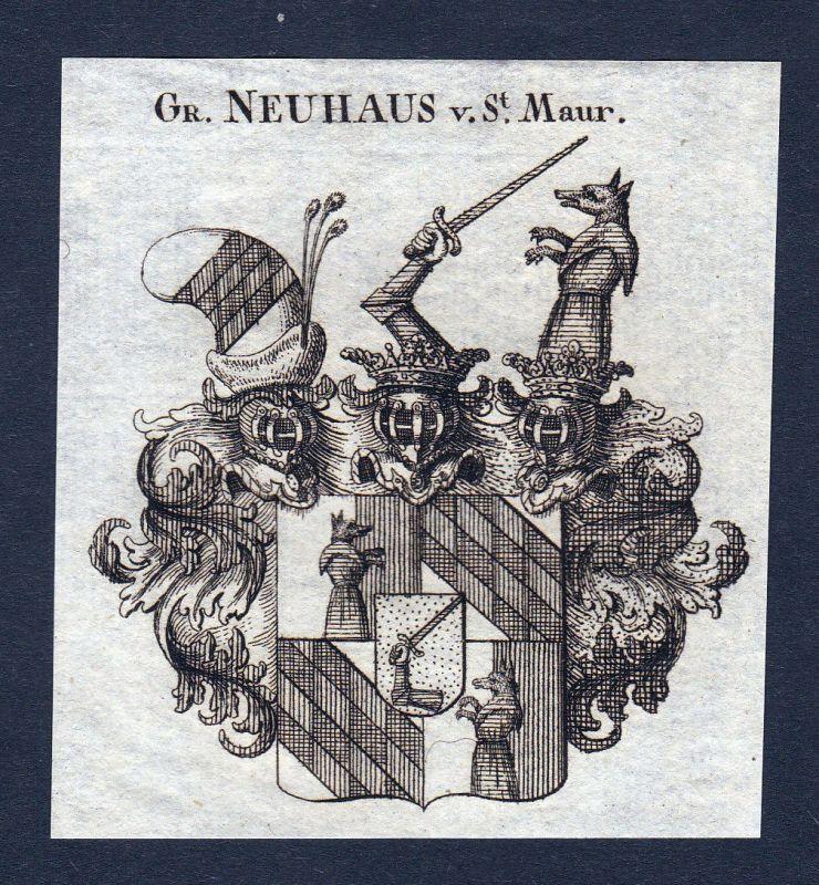 1820 Saint Maur Neuhaus Wappen Adel coat of arms Heraldik Kupferstich engraving