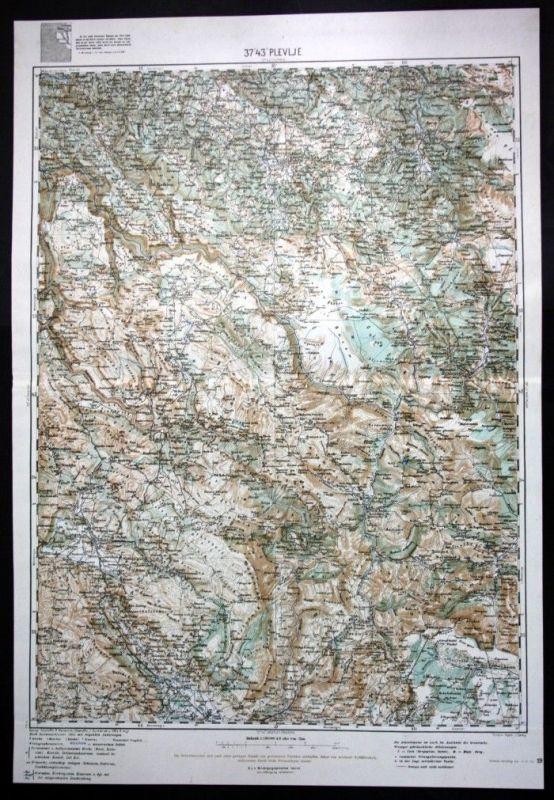 Plevlje / Pljevlja / Zvornik / Bijelopolje / Ljutici - alte Landkarte 1915