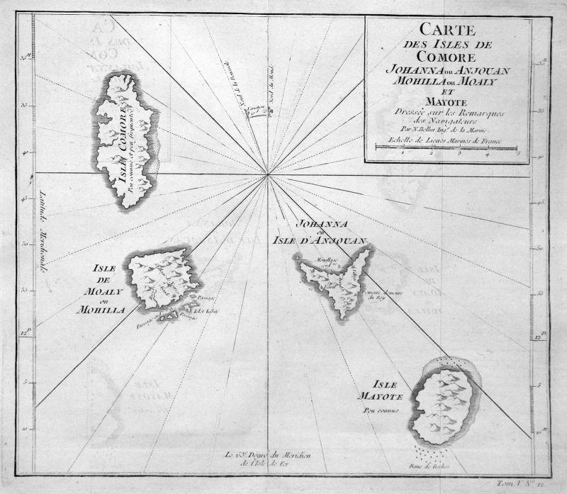 1750 Anjouan Ndzuwani Comores Mwali Mayotte map Kupferstich antique print Bellin