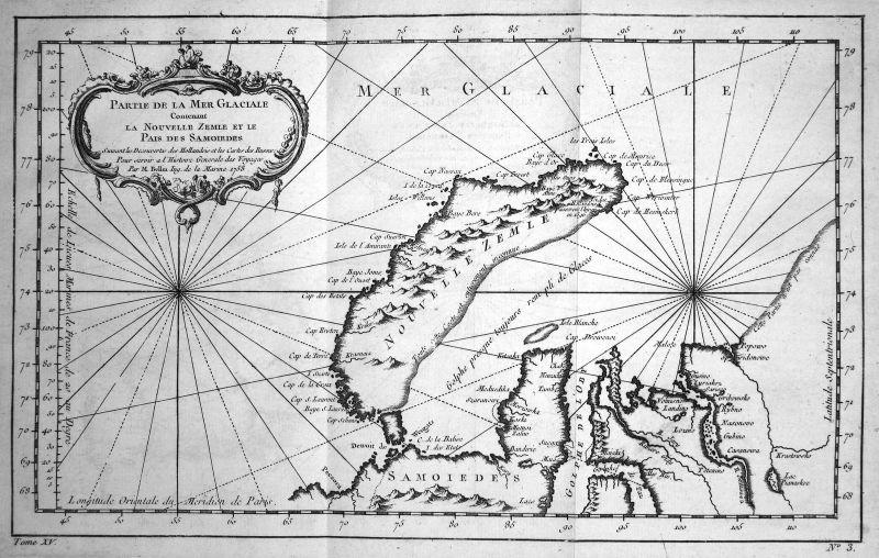 1758 Novaya Zemlya Nowaja Semlja Russia Island map Kupferstich engraving  154890
