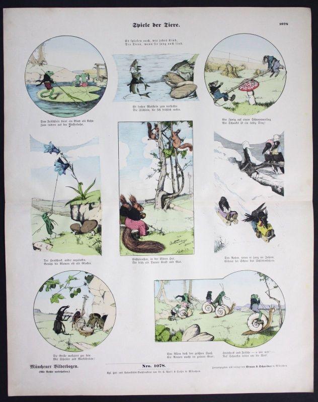 1890 Spiele der Tiere Raben Eichhörnchen Käfer Fische Münchener Bilderbogen