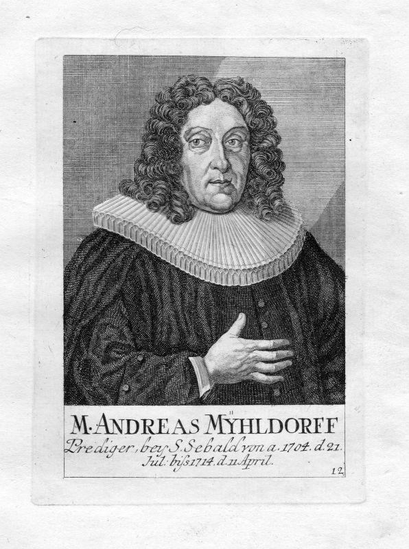 18. Jh. Andreas Mühldorff Theologe St. Sebald Sebalduskirche Nürnberg Portrait
