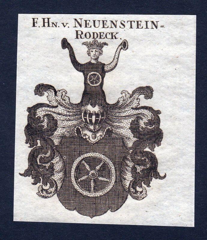 1820 Neuenstein Rodeck Wappen Adel coat of arms Heraldik Kupferstich engraving