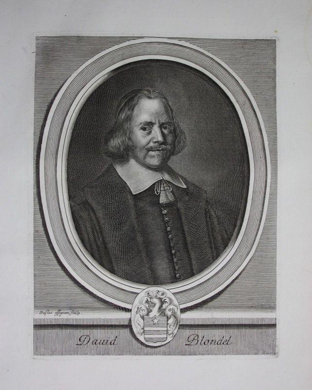 1750 - David Blondel Theologe Frankreich France gravure Kuperstich Portrait