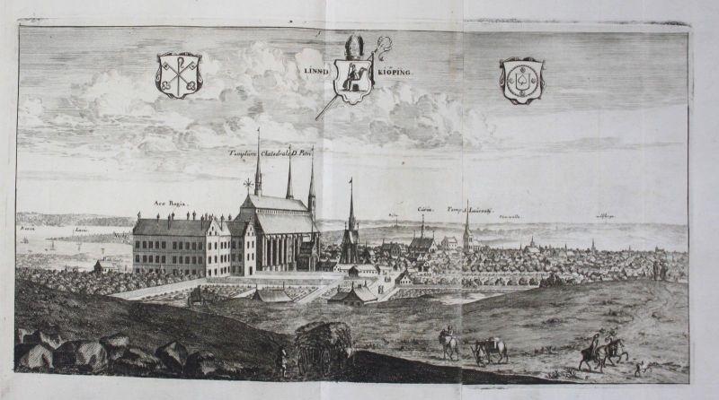 1710 - Linköping Östergötland sweden schweden Kupferstich Dahlberg engraving