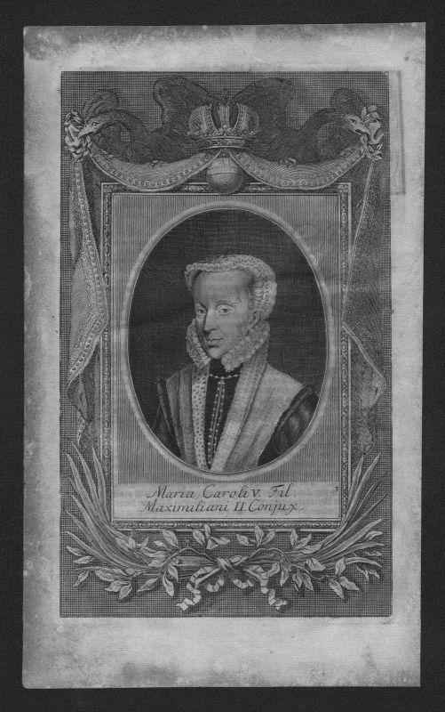 1720 - Maria Anna Carolina von Sachsen Prinzessin engraving Kupferstich Portrait