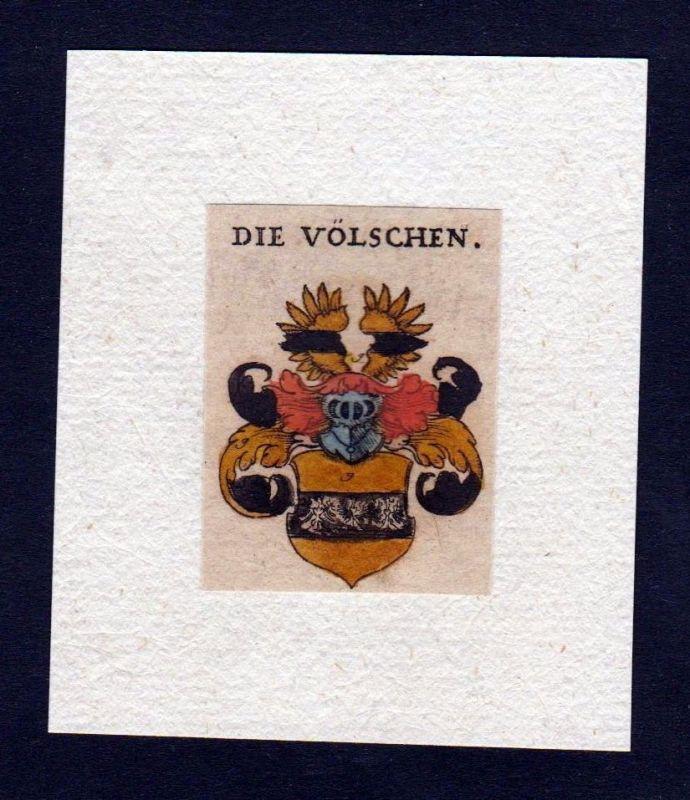 17. Jh. von Völschen Wappen Adel coat of arms heraldry Heraldik Kupferstich