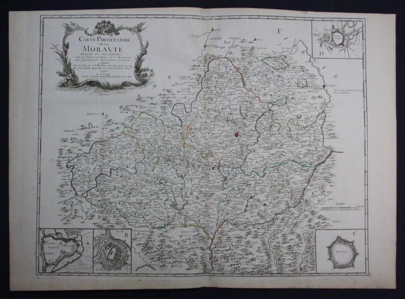 1742 Moravia Olomouc Brno Zlin Czech Ostrava Prerov Jihlava Znojmo map Le Rouge