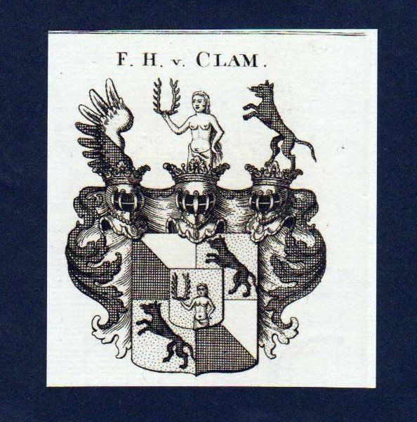 1780 - Freiherren von Clam Original Kupferstich Wappen coat of arms Heraldik
