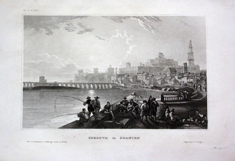 1840 - Cordoba Brücke Andalusien Spanien Spain Espana engraving Stahlstich