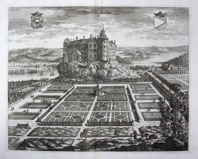 1710 - Hörningsholm Mörkö Södermanland Kupferstich Dahlberg engraving