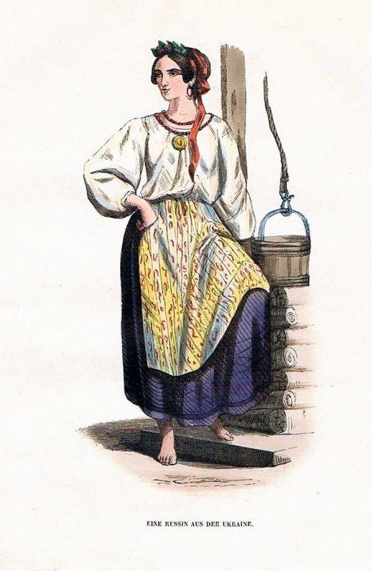 1845 Ukraine Russia Trachten Holzstich costumes antique print