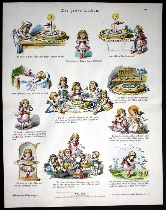 1890 Der große Kuchen cake Kinder Mädchen Münchener Bilderbogen Bildergeschichte