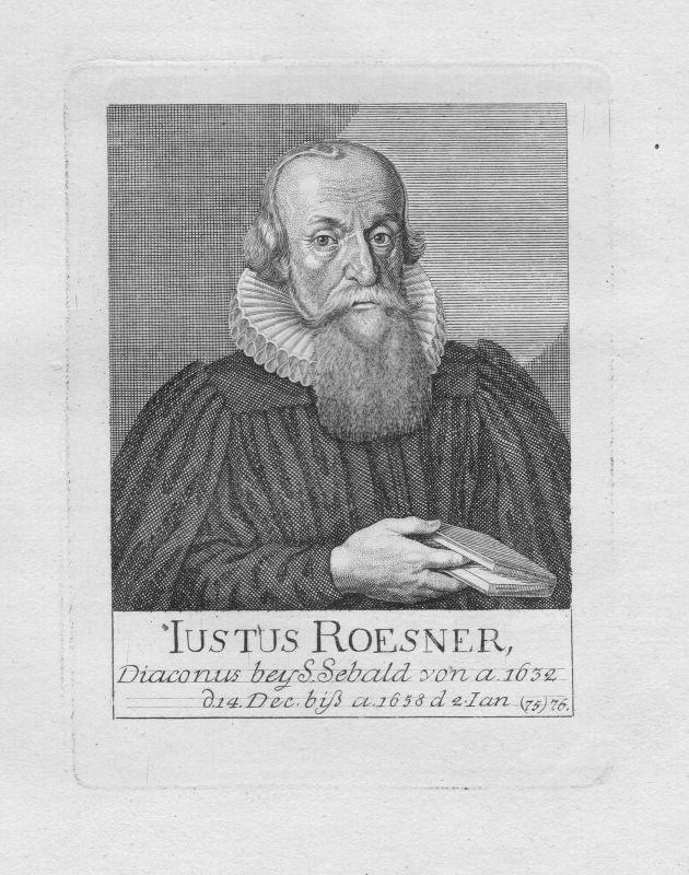 18. Jh. Justus Rösner Diakon St. Sebald Sebalduskirche Nürnberg Portrait