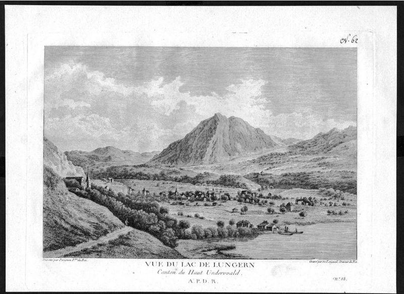 1780 - Lungerersee Kanton Obwalden gravure Kupferstich Zurlauben