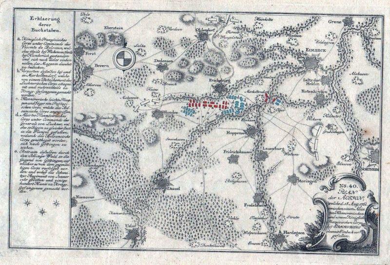 1770 Bevern Dassel Stadtoldendorf Einbeck Hardeysen Karte map Kupferstich Karte