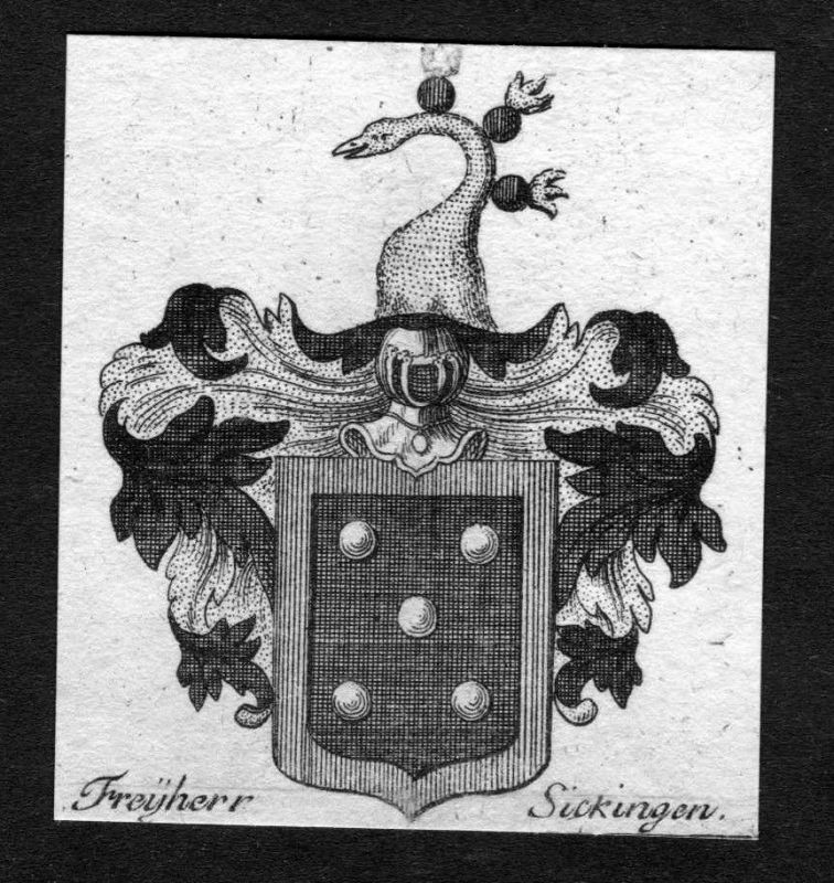 1750 - Sickingen Wappen Adel coat of arms heraldry Heraldik Kupferstich