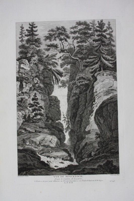 1780 - Renggloch Kriens Schlucht Hergiswald Kupferstich gravure Zurlauben