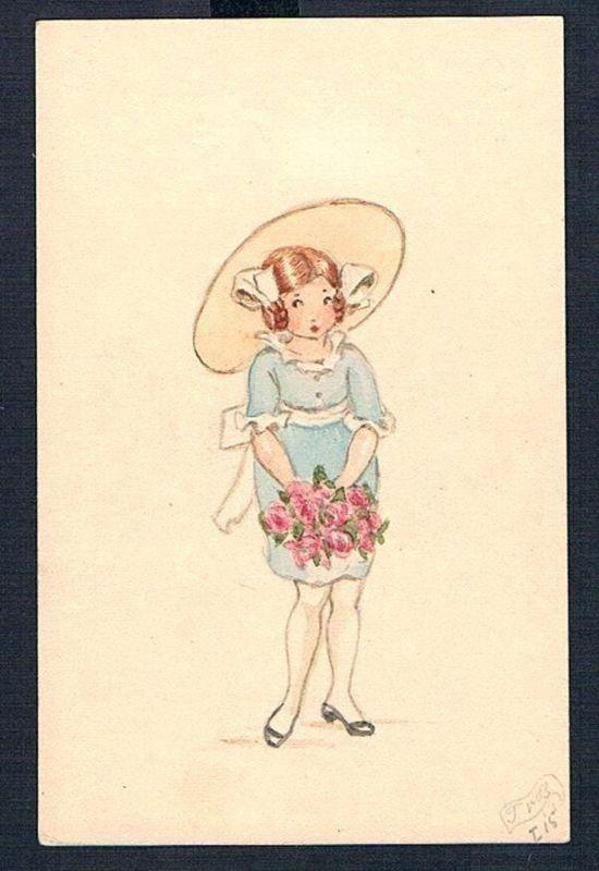 1915 - Kind Mädchen Blumenstrauß Tilly von Baumgarten-Haindl Zeichnung drawing