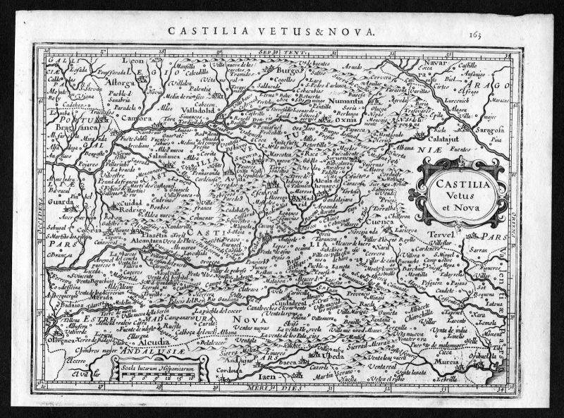 1634 Castilla Kastilien Espana Spain Spanien Karte map Mercator Kupferstich