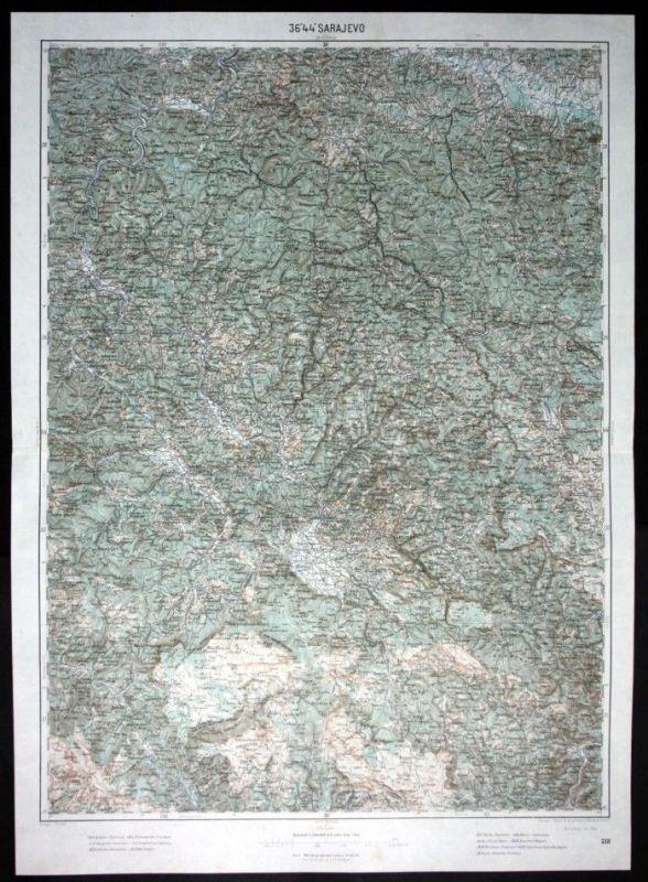 Sarajevo / Brod / Rijeka / Vukovine / Zgosca / Osjek - alte Landkarte 1915