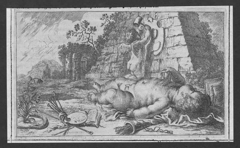 1700 Engel angel Kind child Pfeile arrows etching Kupferstich antique print