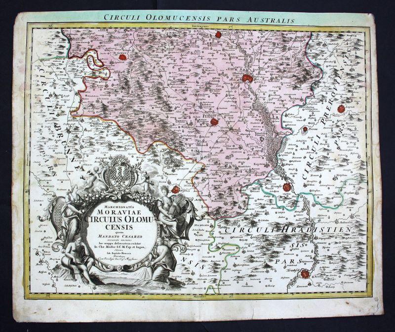 Olomouc Prostejov Vyskov Kromeriz Prerov Czech Karte map antique print Homann