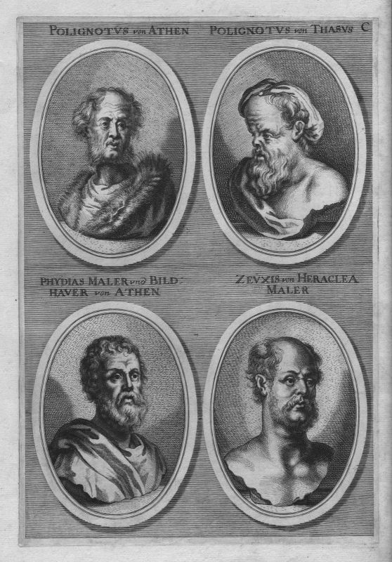 1700 Zeuxis Heraclea Phydias Athen Antike antiquity etching Kupferstich Portrait