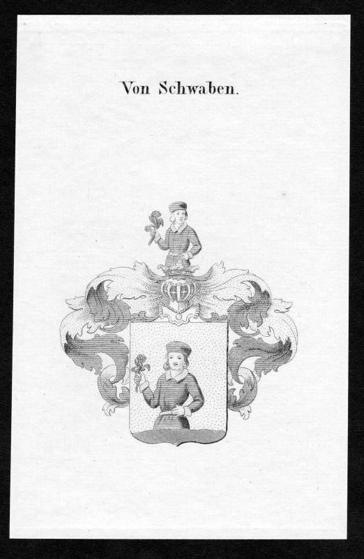 1820 - Schwaben Wappen Adel coat of arms heraldry Heraldik Kupferstich