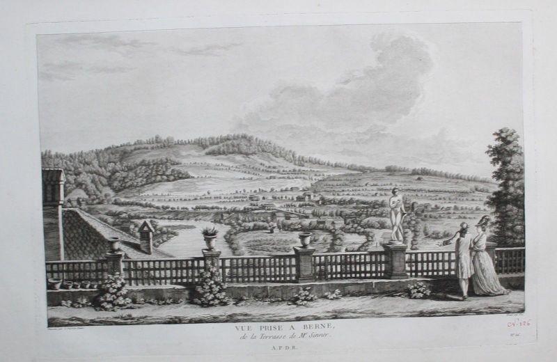 1780 - Bern Gesamtansicht Berne gravure Kupferstich Zurlauben